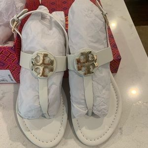 Never Worn White Tory Burch Bruce Thong Sandals